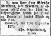 Dødsfald - Birthe Kirstine Schneidelbach (Dags-Telegraphen, 16. september 1875)