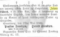Dødsfald - John Lüders - Svendborg Amtstidende (29. maj 1860)