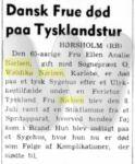 Artikel - Dansk Frue død paa Tysklandstur - Dagens Nyheder (22. juli 1955)