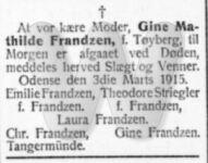 Dødsfald - Gine Mathilde Frandzen - 3. marts 1915