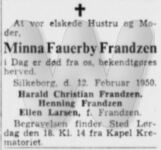 Dødsannonce - Minna Fauerby Frandzen - Jyllands-Posten 15. feb 1950