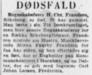 Dødsannonce - Harald Christian Frandzen - Jyllands-Posten 20. dec 1953