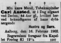Dødsfald - Carl Pauly Aasted - Nordjyllands Arbejderblad 17. februar 1902