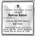 Dødsfald - Andreas Aasted - Ny Tid (Aalborg) - 21. marts 1967