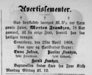 Dødsfald - Morten Frandzen - Sydfyenske Tidende - 22 april 1868