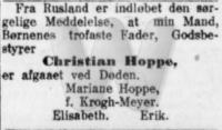 Dødsfald - Christian Hoppe - Nationaltidende - 31. maj 1917
