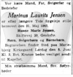 Dødsfald - Marinus Laurits Jensen - Social-Demokraten - 2. juni 1943