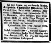 Augusta Christina Frandzen Ottesen Død