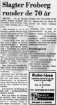 Niels Froberg - 70 år - Randers Dagblad - 29 juli 1974