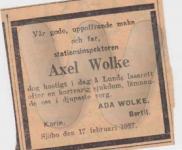Axel Wolke Death Notice in Newspaper