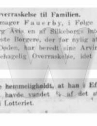 Arnold Fauerby - Vundet i Lotteriet - Middelfart Avis - 26. februar 1926