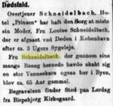Louise Scheidelbach - Død - Notits i Roskilde Avis 23. september 1926