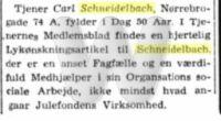 Carl Schneidelbachs 50 års fødselsdag - notits i Social-demokraten 29. november 1940